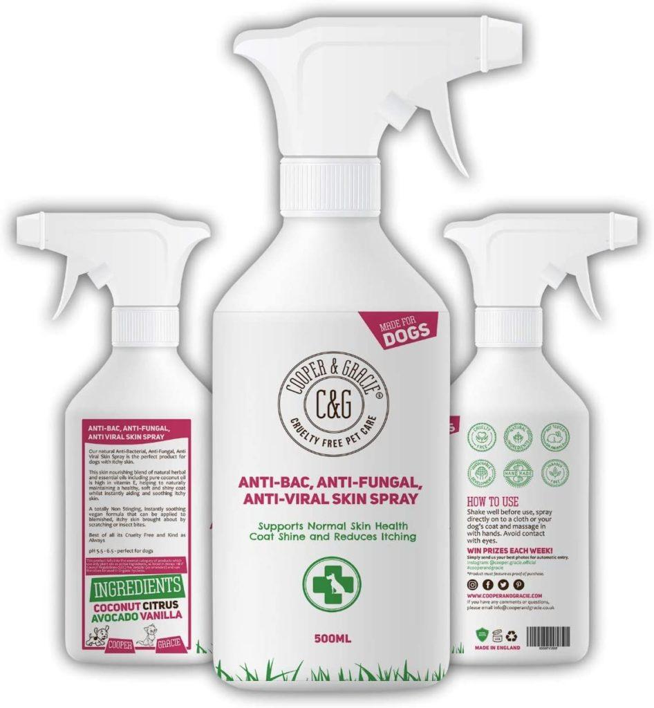 Spray antibatterico per disinfettare zampe